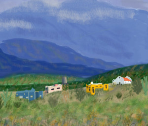 As seen from Academy Village: IPad Art-- Virginia Richardson